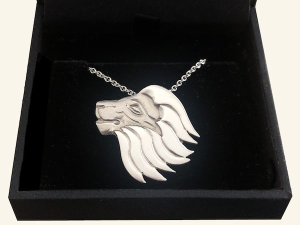Lion necklace in box