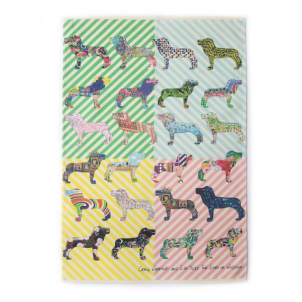 Multicoloured tea towel
